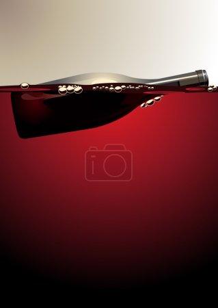 Illustration pour Illustration d'une bouteille de vin vide non étiquetée flottant sur du vin rouge avec des bulles adhérant au verre avec un espace de copie - image libre de droit