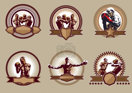 Set of combative sport icons or emblems