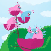 Large growing family - a cute little pair of cartoon birds in pink and blue sitting with their wings around each other viewing their three offspring in smaller nests on higher on the branch