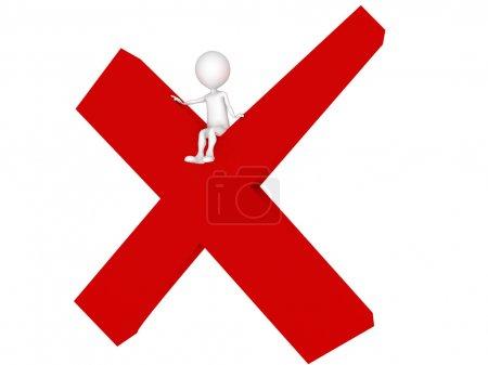 Photo pour Chartre humain 3D assis lettre rouge X, rendu 3d, isolé sur blanc - image libre de droit