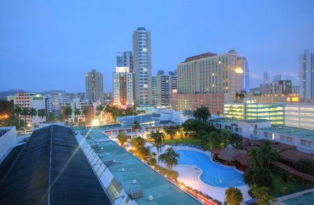 Panama close cityscape Top view with blue pool sor...