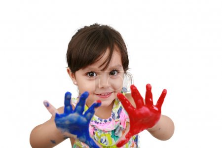 Cute little girl with painted hands. Isolated on white backgroun