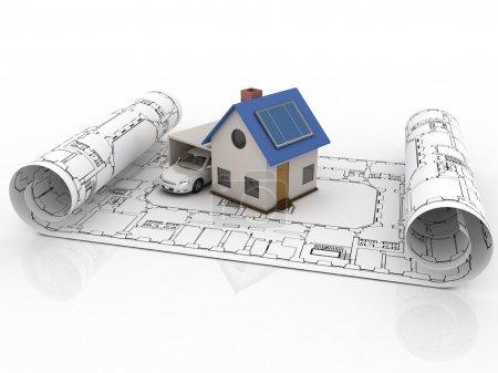 Foto de Casa modelo de arquitectura con garaje - Imagen libre de derechos