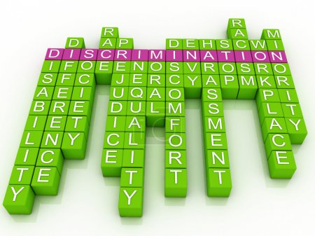 Photo for 3d imagen Discrimination in word cloud - Royalty Free Image