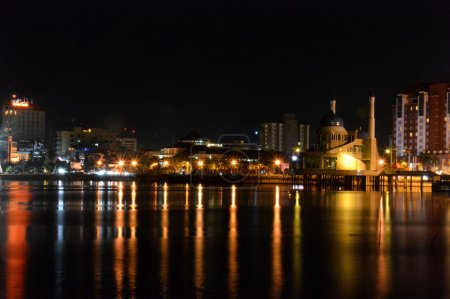 Photo for Panorama of the city of Makassar, Indonesia at night time - Royalty Free Image