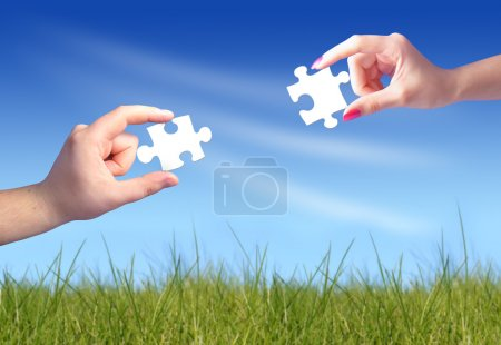 Photo for Hands and puzzle. Communication concept. - Royalty Free Image