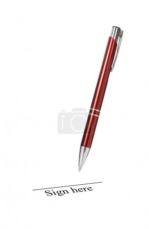 Photo for Signing contract. Pen isolated over white. - Royalty Free Image