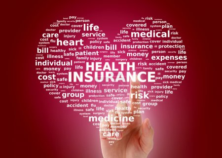 Photo pour Concept d'assurance maladie. Nuage d'étiquette . - image libre de droit