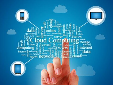 Photo for Cloud computing concept over blue background. - Royalty Free Image