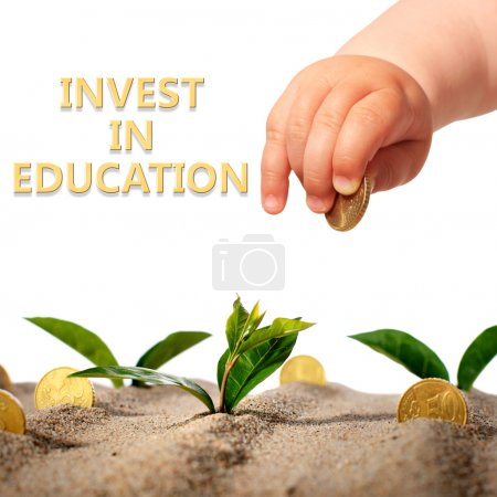 Photo for Invest in yourself. Hand with coin and plants. - Royalty Free Image