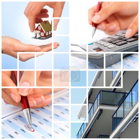 Photo for Invest in real estate concept. Collage. - Royalty Free Image