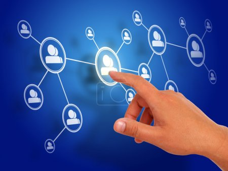 Photo for Social network concept over blue background. - Royalty Free Image