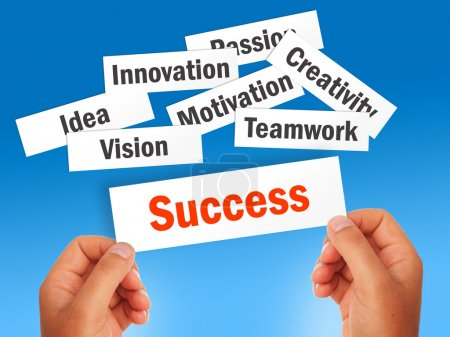Photo for Success concept over blue background. - Royalty Free Image
