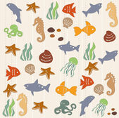 Seamless ocean life pattern 2