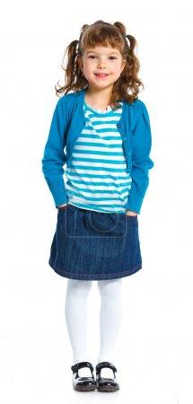 Photo pour Jeune fille pose pour une photo. isolé sur fond blanc - image libre de droit