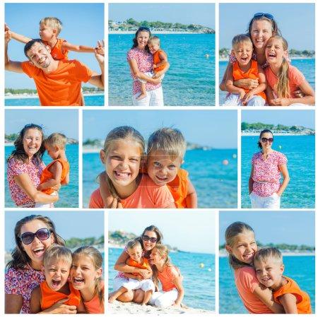 Photo pour Collage du portrait d'images de famille heureuse en riant et en regardant la caméra sur la plage - image libre de droit