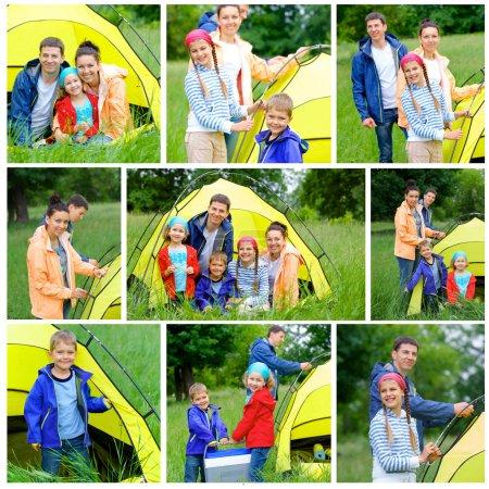 Photo pour Collage de famille avec trois enfants dans la tente en camping sur la nature des images. - image libre de droit