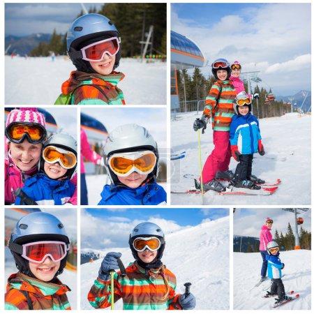 Photo pour Collage de happy kids souriant images deux dans un casque et des lunettes de ski avec sa mère dans les montagnes - image libre de droit