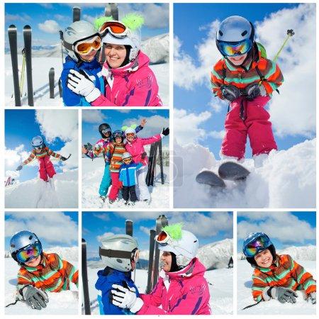 Photo pour Ski, hiver, neige, soleil et amusement. collage d'images de famille profitant des vacances d'hiver - image libre de droit