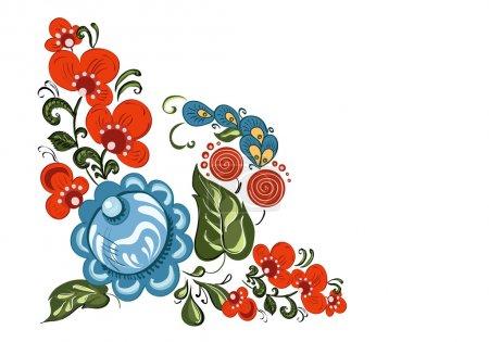 Photo pour Elément d'angle décoratif avec des fleurs et dans le style traditionnel russe (Gorodets) sur fond blanc isolé - image libre de droit