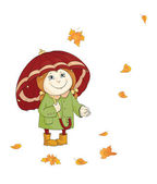 Little girl with big umbrella enjoying autumn leaves on isolated white