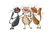 Three happy cats singing cheerful song on isolated white background Illustration vector