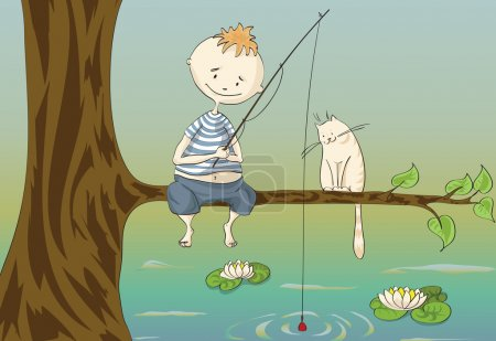 Illustration for Boy and cat sitting on tree branch over river catching fish in early summer morning - Royalty Free Image