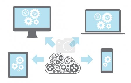 Photo pour Cloud computing Réseau Connecté tous les appareils - image libre de droit