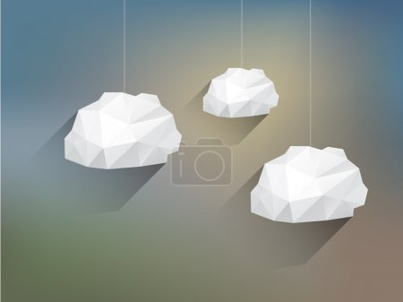 Illustration for Low poly Clouds with Long Shadow on Blurred Background - Royalty Free Image