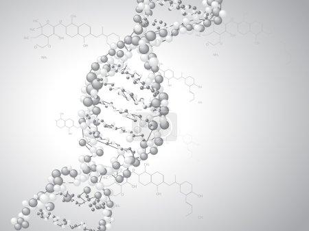 Illustration for DNA spiral - molecules background - Royalty Free Image