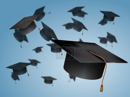 Illustration for Graduation Caps Thrown in the Air - Royalty Free Image