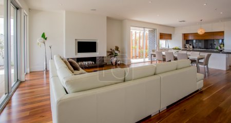 Photo for Spacious open plan living area in a very modern, beautiful and elegant house - Royalty Free Image