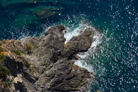 Photo for Picture taken from a cliff down onto the seashore - Royalty Free Image