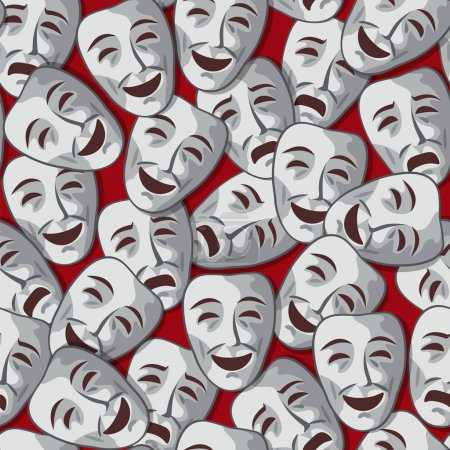Illustration for Vector seamless pattern with merry and sad theatrical masks - Royalty Free Image
