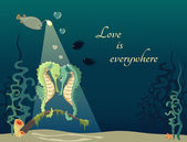 Cartoon illustration of underwater world with fishs and seahorses Concept of love