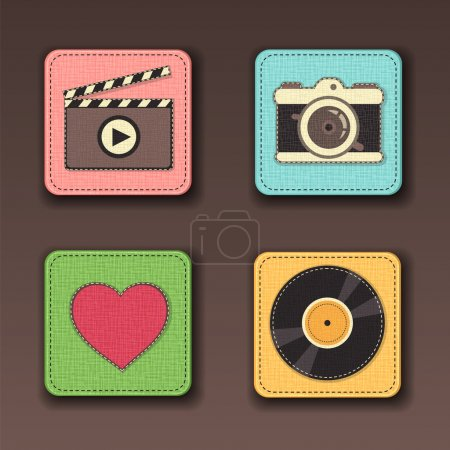 Illustration for Set of app icons, symbols stitched on the textile background - Royalty Free Image