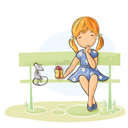 Illustration for Girl sitting on a bench giving a gift to her mouse - Royalty Free Image