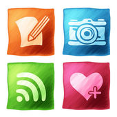 Apps icon set with the effect of watercolors