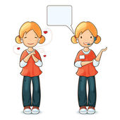 Girl speaking by headset with speech bubble and girl in love