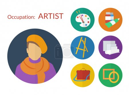 Illustration for Set of vector icons for artist flat design - Royalty Free Image