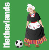 Dutch girl in national costume with soccer ball