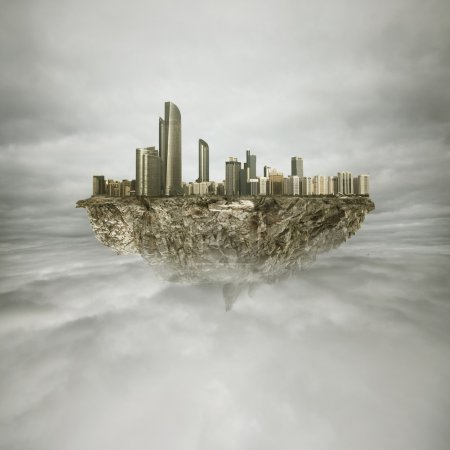 Photo for Big cityon the rock in the sky - Royalty Free Image