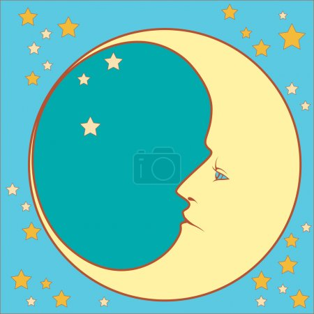 Illustration for Crescent moon in profile with stars  in squared - Royalty Free Image