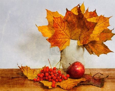 Photo for Autumn still life of yellow leaves, ripe mountain ash - Royalty Free Image