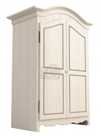 Photo for Rustic white painted wooden cupboard with a gable top isolated on white - Royalty Free Image