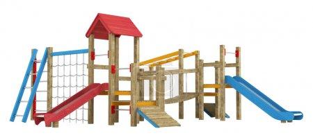 Photo pour Appareils de jeux pour enfants en bois avec toboggans, cadres d'escalade et passerelle isolés sur blanc - image libre de droit
