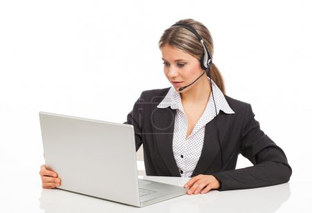 Support phone operator with laptop