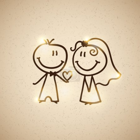 Illustration for Hand drawn wedding couple on realistic textured cardboard, vector eps 10 - Royalty Free Image