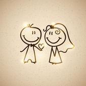 Hand drawn wedding couple on realistic textured cardboard vector eps 10