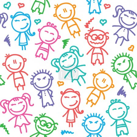 Illustration for Funny seamless pattern with hand drawn kids - Royalty Free Image